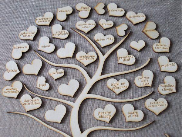 drewniane drzewko na podziękowanie rodzicom